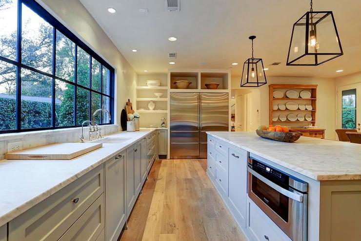 Kitchen Island With Restoration Hardware Modern Filament Pendants Cottage Kitchen