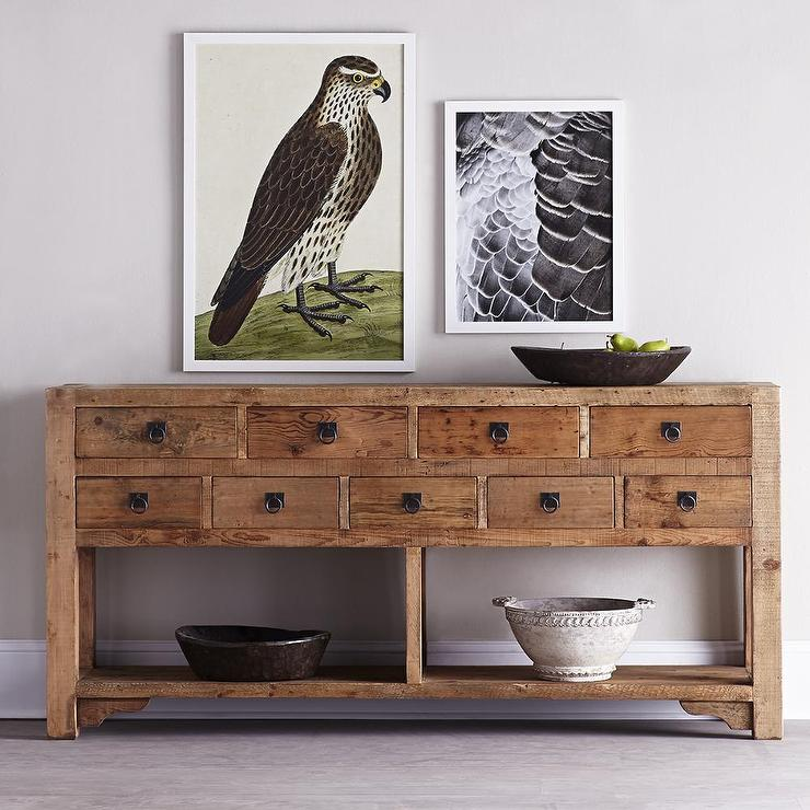 Rustic 3 Drawers Natural Wood Console Table
