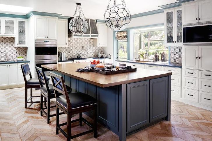 Blue Kitchen Island Wood Countertop Transitional