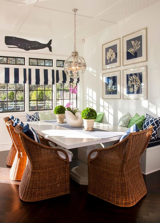 Cottage Breakfast Nook With Wicker Dining Chairs Cottage
