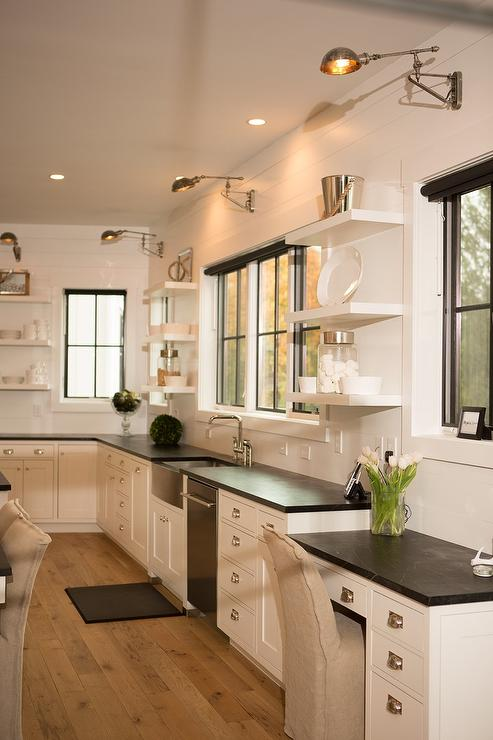 Soapstone Kitchen Desk Top With Swing Arm Sconce