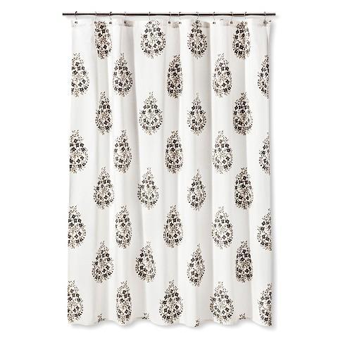 threshold paisley shower curtain in grey
