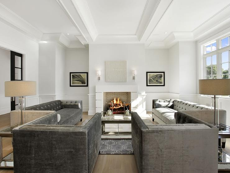 Charcoal Grey Velvet Tufted Sofas With Pascual Coffee