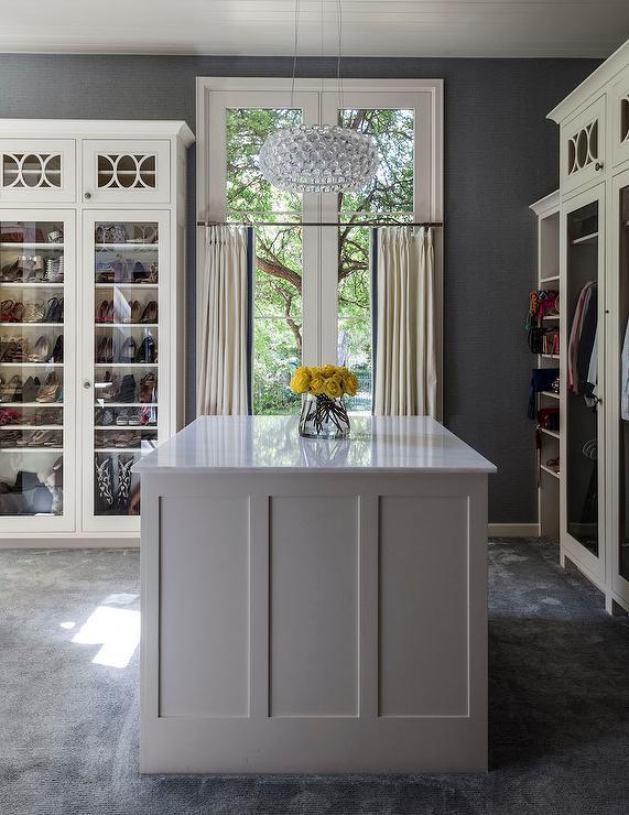 White And Grey Closet With Island Contemporary Closet
