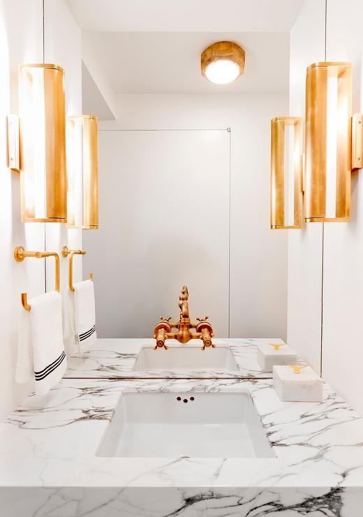 White Powder Room With Gold Fixtures Contemporary Bathroom