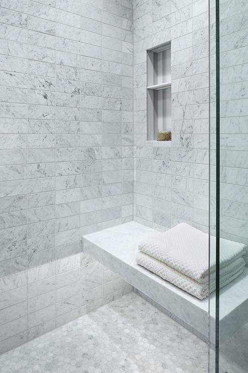 carrera marble floating shower bench