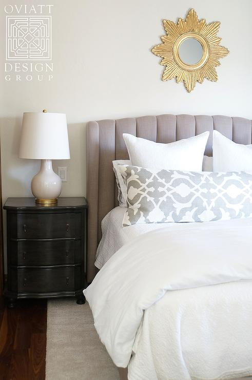 Black Nightstand With White Lamp Transitional Bedroom