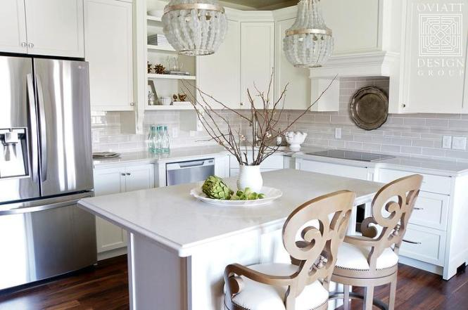 Small Kitchen Island With Gray Beaded Chandeliers