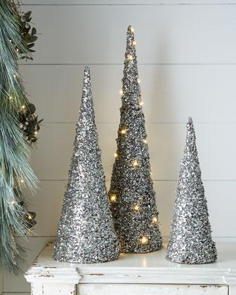 Blush Silver Glitter Cone Trees