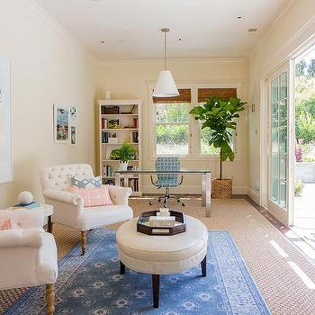 Home Office Sitting Area With Layered Rugs Transitional