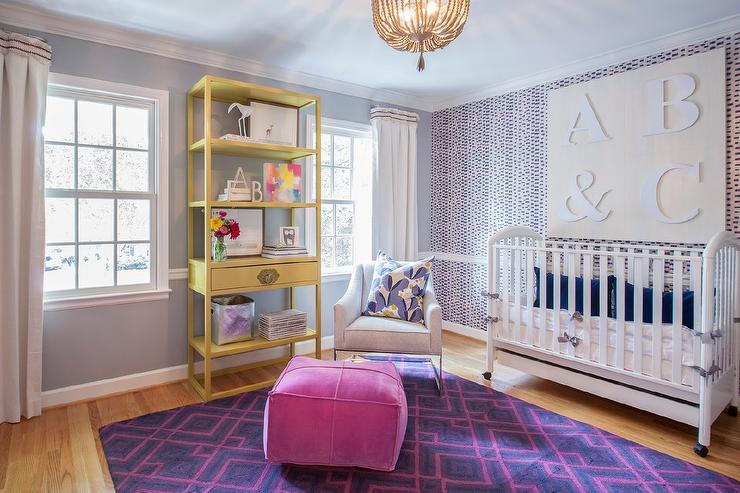 Pink And Purple Nursery With Chair Rail Contemporary Nursery