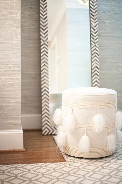 Parsons Floor Mirror Gray Herringbone Transitional Bedroom