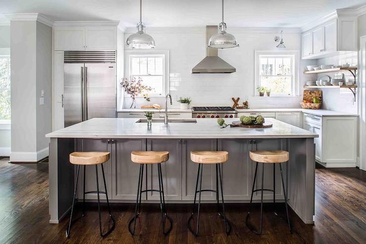 Gray Kitchen Island with Wisteria Smart and Sleek Stools     Gray Kitchen Island with Wisteria Smart and Sleek Stools