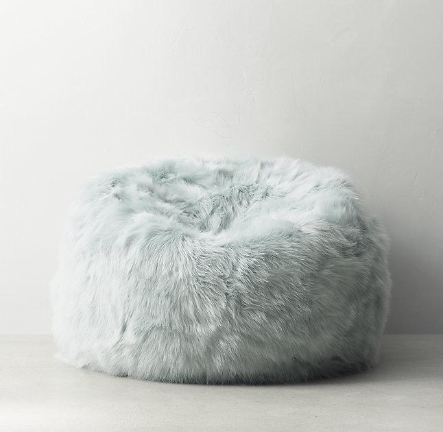 Kashmir Seafoam Faux Fur Bean Bag