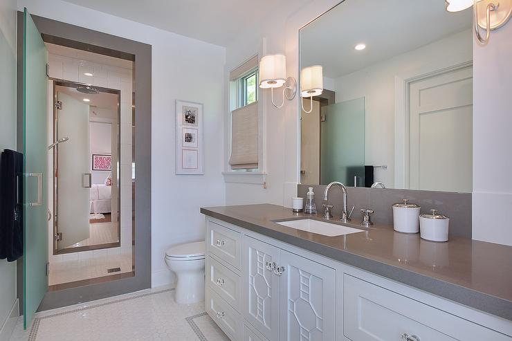 Jack And Jill Shower With Frosted Glass Doors