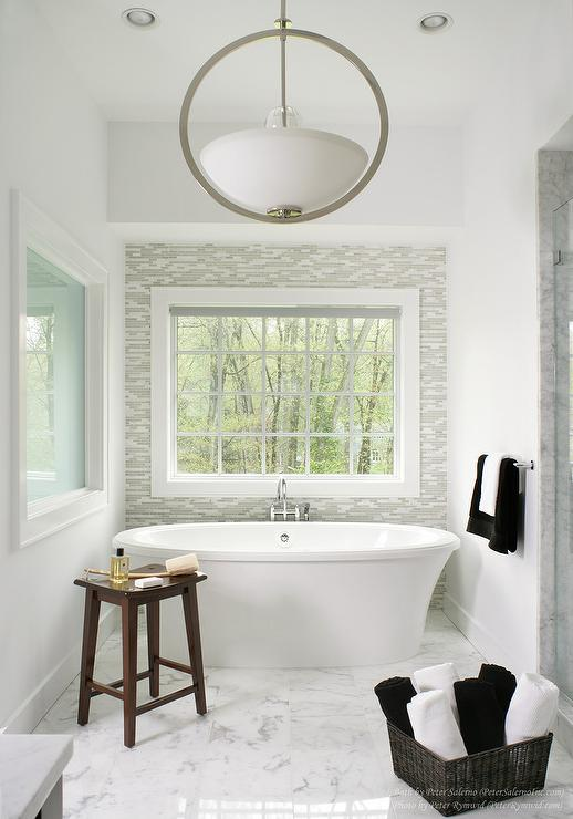 gray glass tile accent wall