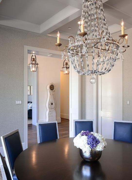 Navy Leather French Dining Chairs With Paris Flea Market Chandelier