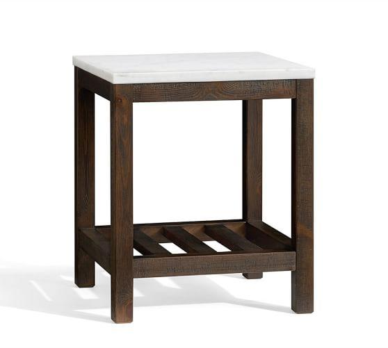 connor white marble brown side table
