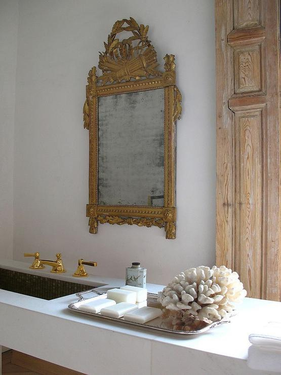 Marble Floating Vanity With Gold Ornate Mirror French