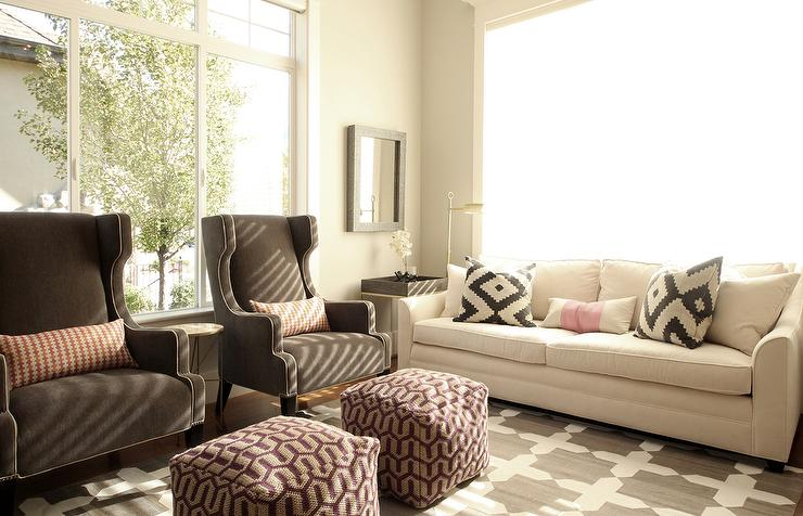 White Sofa With Brown Wingback Chairs Transitional Living Room