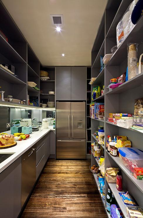 Gray Pantry With Full Size Refrigerator Modern Kitchen