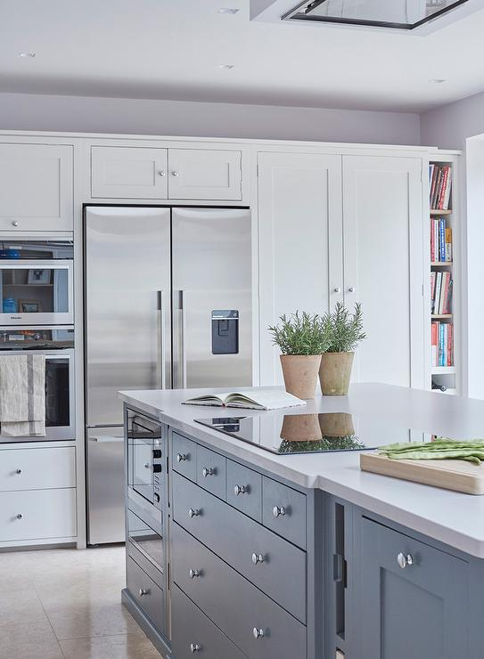 Blue Kitchen Island With Induction Cooktop Contemporary