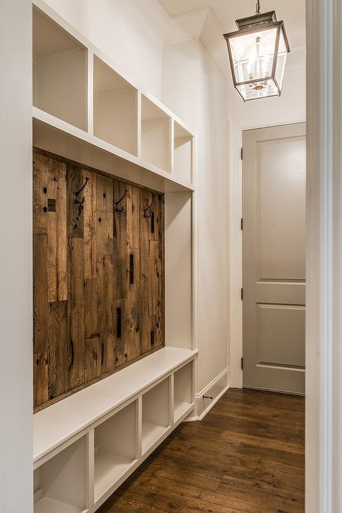 Rustic Mudroom with Barn Board Backsplash