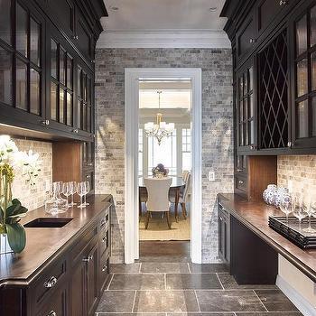 gray staggered butler pantry floor tile