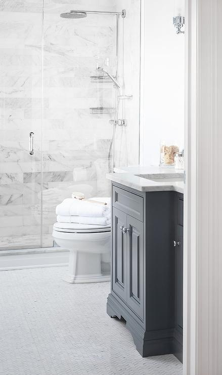 dark gray washstand with marble