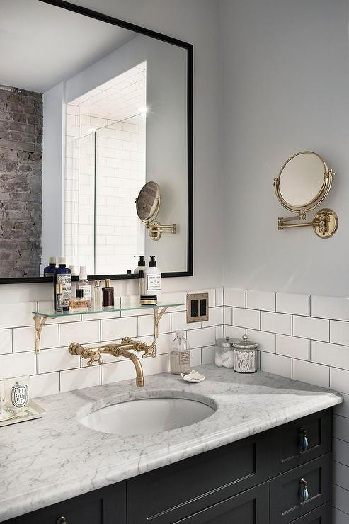 Black Vanity With Carrera Marble Countertop And Vintage