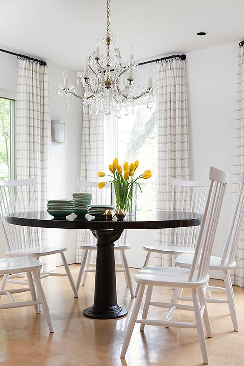 Farmhouse Dining Table With Gray Windsor Dining Chairs