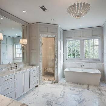 Gray Bathroom With Corner Shower