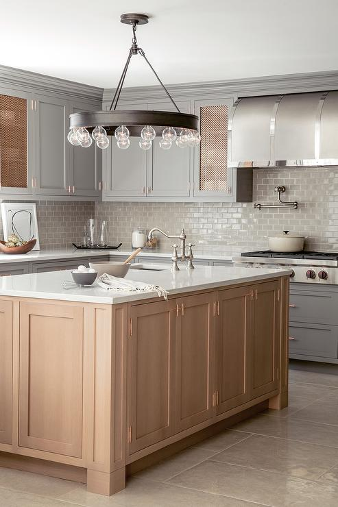 Honey Colored Kitchen Island With Ralph Lauren Roark