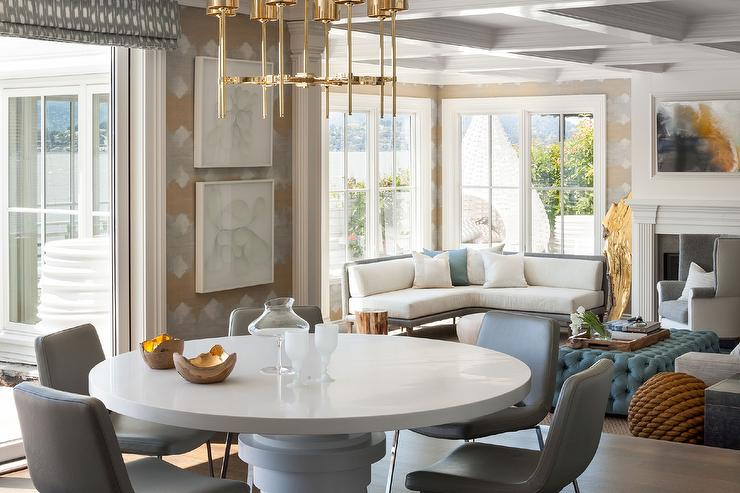 Round Saarinen Dining Table With Gray Leather Dining