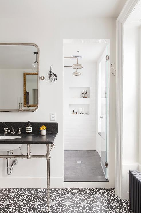 Long Shower For Two With His And Hers Shower Heads Modern Bathroom