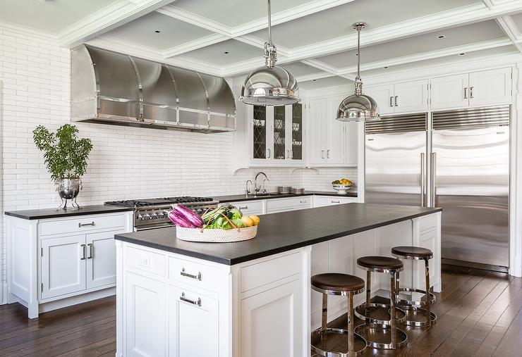 White Kitchen With Black Countertops And Side By Side