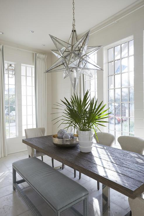 White And Blue Cottage Dining Room With Mixed Seating