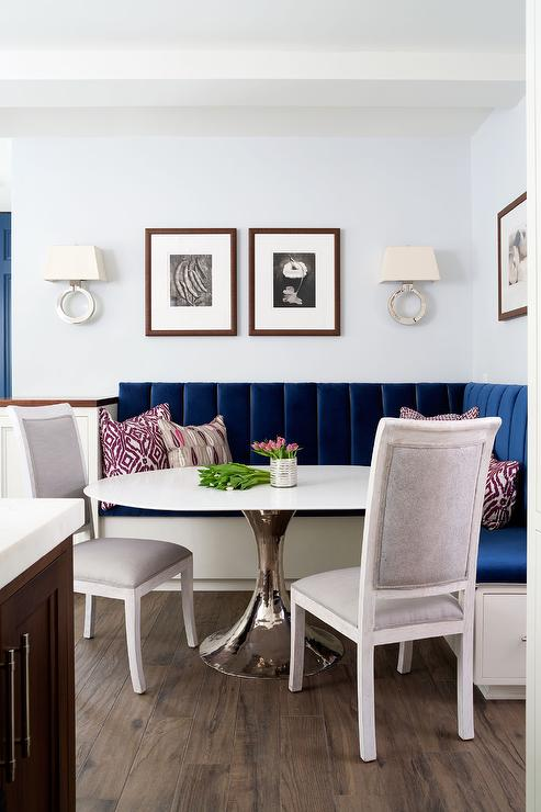 Sapphire Blue Velvet Dining Banquette With Bungalow 5