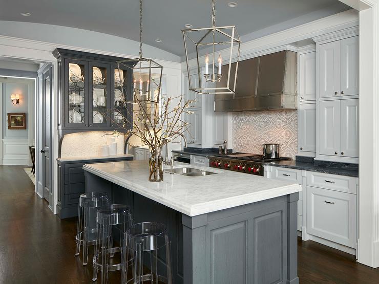Light Gray Kitchen With Brass Bar Stools Transitional Kitchen