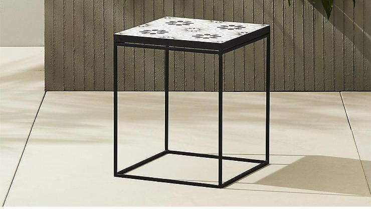 black and white floral tile side table