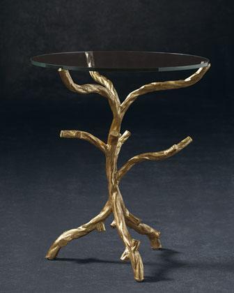 Gold Leaf Glass Tree Branch Base Side Table