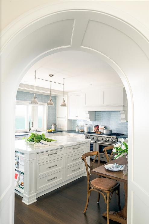 Blue Subway Tiles Transitional Kitchen Decor De Provence