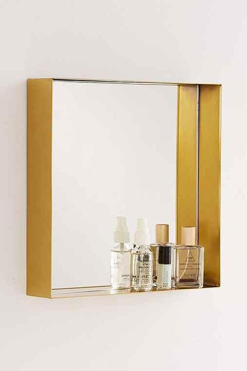 Bathroom Gold Famed Square Beveled Mirror