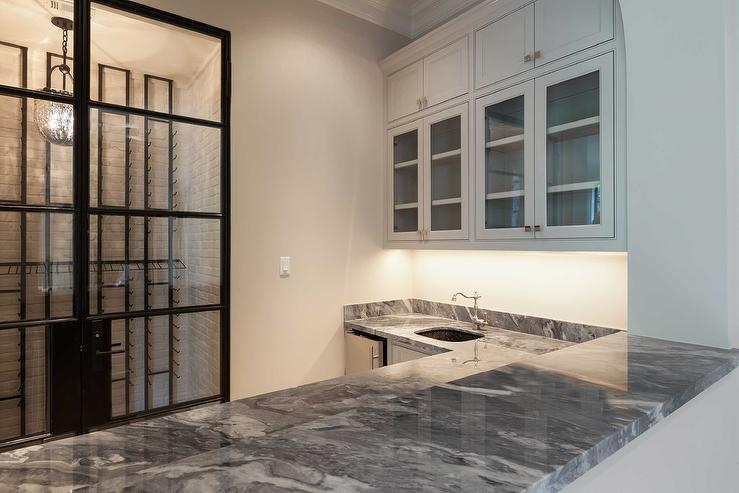 Basement Wet Bar With Arebescato Gray Marble Countertops