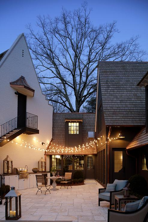 fairy lights and outdoor kitchen