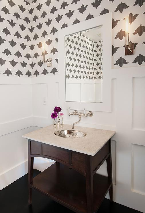 Powder Room With Board And Batten Walls And Hammered Metal
