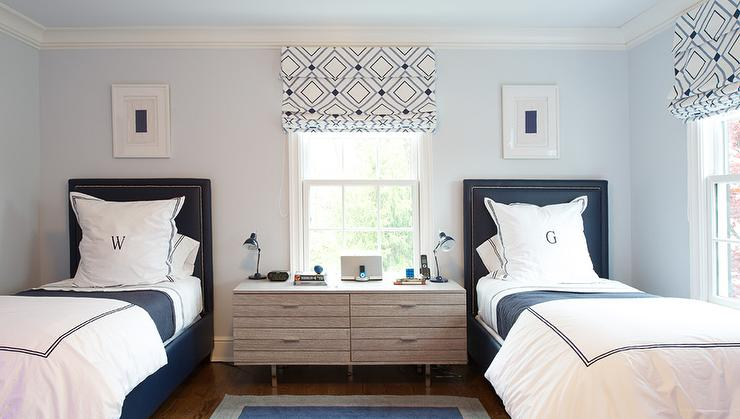 pale blue and navy blue boys bedroom