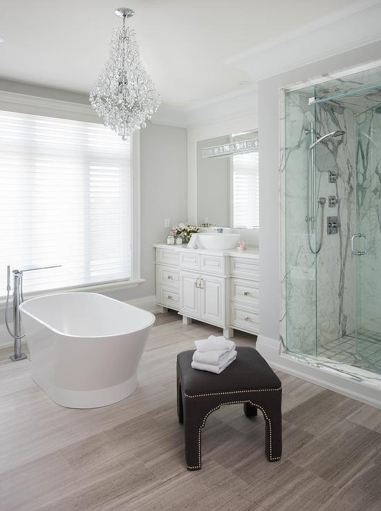 White Master Bathroom With Taupe Wood Like Tile Floor