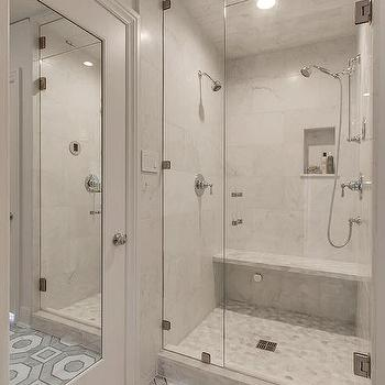 Gray Oval Marble Shower Tiles Contemporary Bathroom