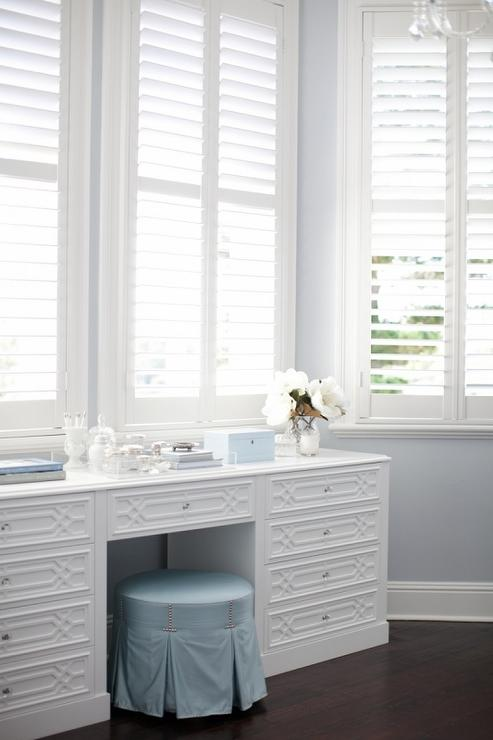 Bay Window With White Trellis Makeup Vanity Transitional